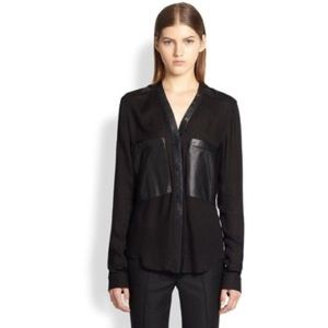 Helmut Lang Feathery Jersey Leather Pocket Shirt
